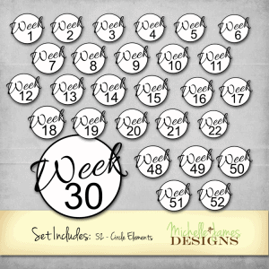 52 Weeks Circle Elements - www.michellejdesigns.com