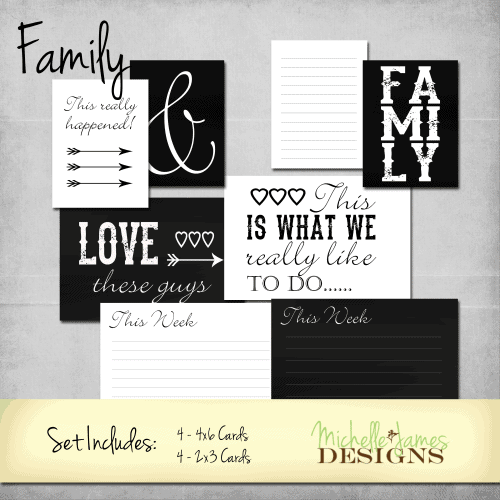 Chalkboard Family Kit for Project Life/Pocket Pages - www.michellejdesigns.com