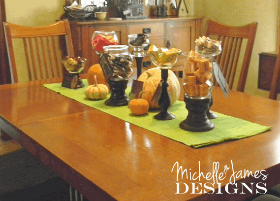 Halloween Candy Bar - www.michellejdesigns.com - create a fun Halloween Candy Bar using thrift store candle holders and glass items.