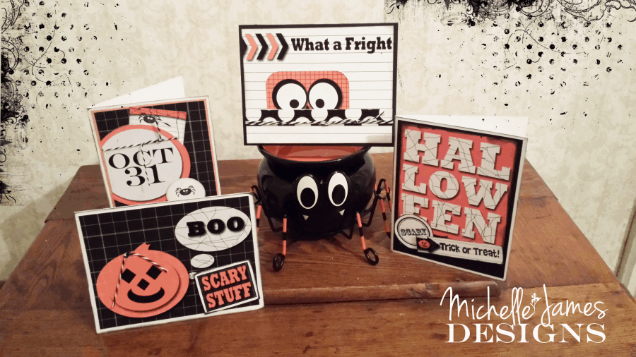 Fast, simple Halloween cards created using October 31 $2.99 - www.michellejdesigns.com - #funcards, #halloweenpapercrafts