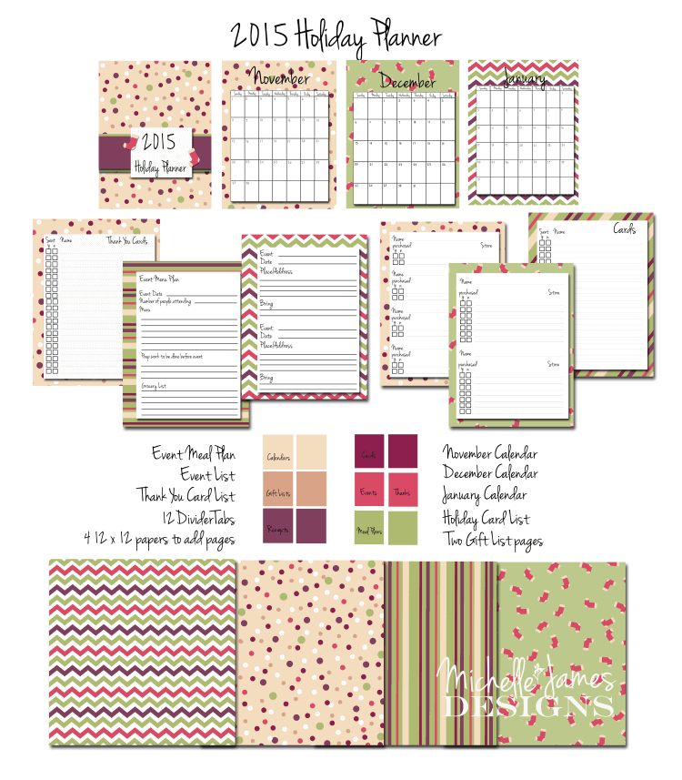 2015 Holiday Planner - www.michellejdesigns.com