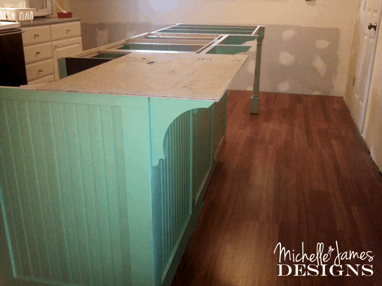 Kitchen Remodel - Wood Laminate Flooring - www.michellejdesigns.com