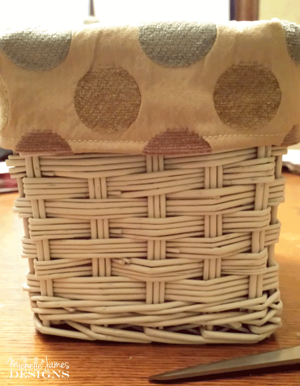 DIY Lined Baskets - Side view of the nice white basket with the liner folded over the top of the basket.