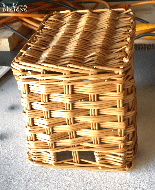 DIY Lined Basket - Original basket turned upside down ready for white paint. - www.michellejdesigns.com