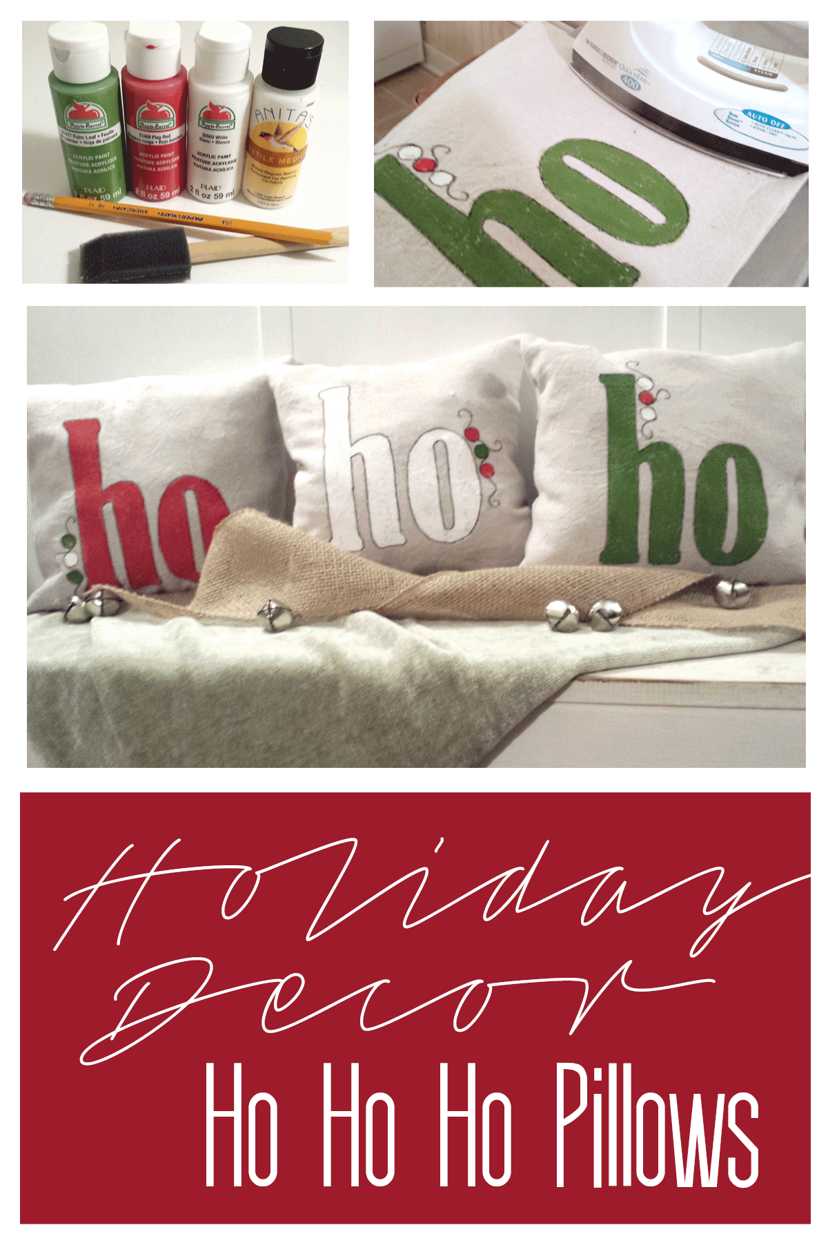 These holiday ho ho ho pillows are perfect for home holiday decor. - www.michellejdesigns.com