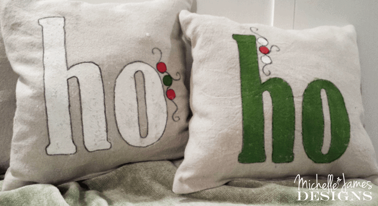 Holiday Decor - Ho Ho Ho Pillows - www.michellejdesigns.com