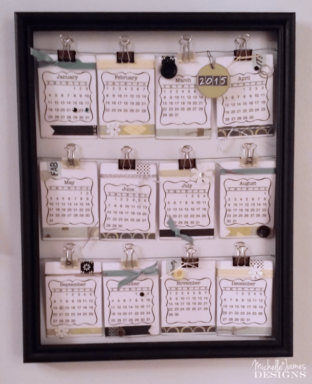 Create a new year calendar each year with stickers, card stock and embellishments. Stay organized each year with a New Year calendar