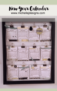 Create a new year calendar each year with stickers, card stock and embellishments. Stay organized each year with a New Year calendar!