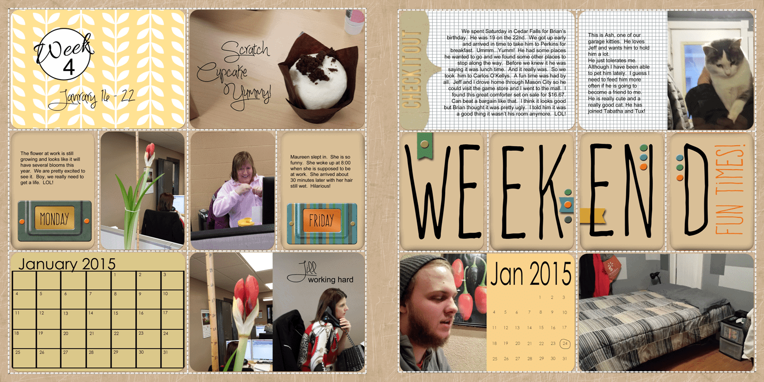 Week 4 - 2015 Project Life pages - www.michellejdesigns.com