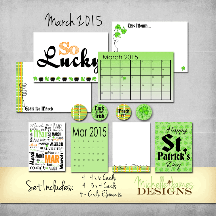 March 2015 Kit for Project Life/Pocket Pages - www.michellejdesigns.com