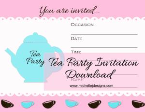 Guest Post Tea Party Invitation - www.michellejdesigns.com