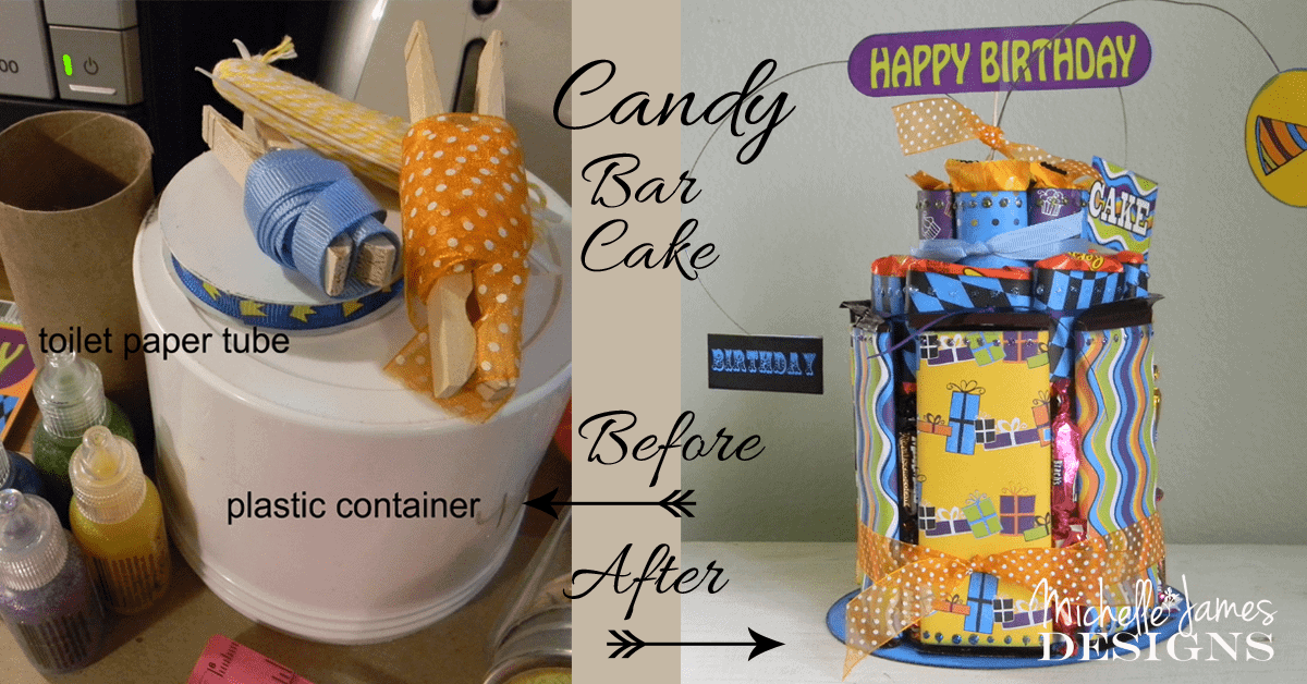Trash it or Craft it? - www.michellejdesigns.com - Many different items such as a plastic container and a toilet paper tube are up-cycled into a fun and festive candy bar cake