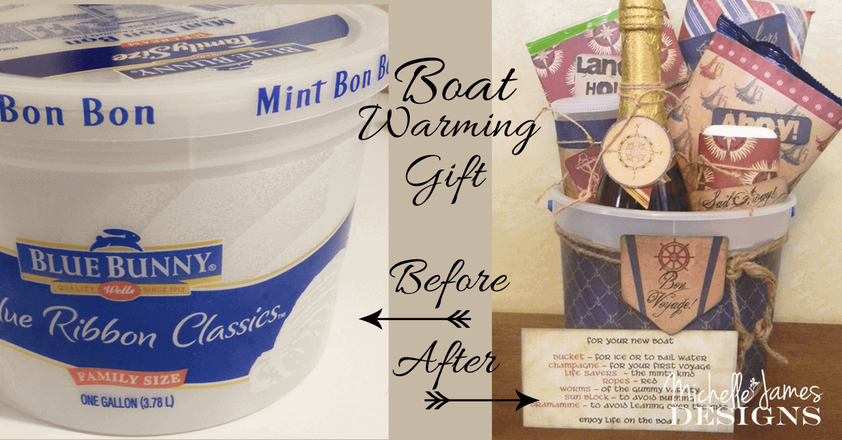 Trash it or Craft it? - www.michellejdesigns.com - This ice cream bucket became a house warming gift for my brother when he officially moved onto his boat!