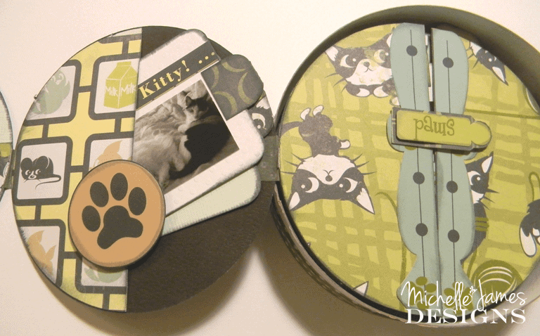 Trash it or Craft it? - www.michellejdesigns.com - A Brie Cheese container is great for a mini album cover!