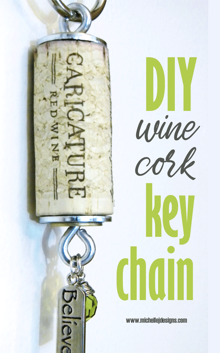 Finished wine cork key chain with charms.