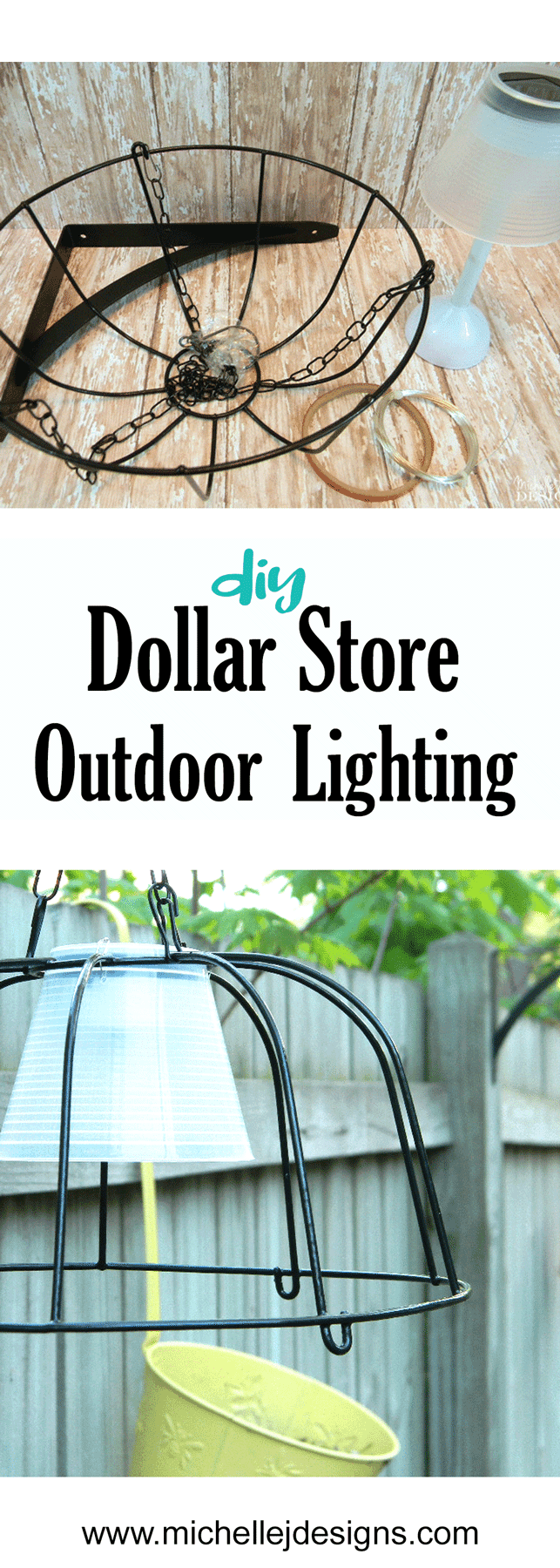 I used some dollar store hanging planters and solar lights to create some fun dollar store outdoor lighting for my back paitio! #dollarstorecrafts #dollarstorelighting #outdoorlighting #diyoutdoorlighting - www.michellejdesigns.com