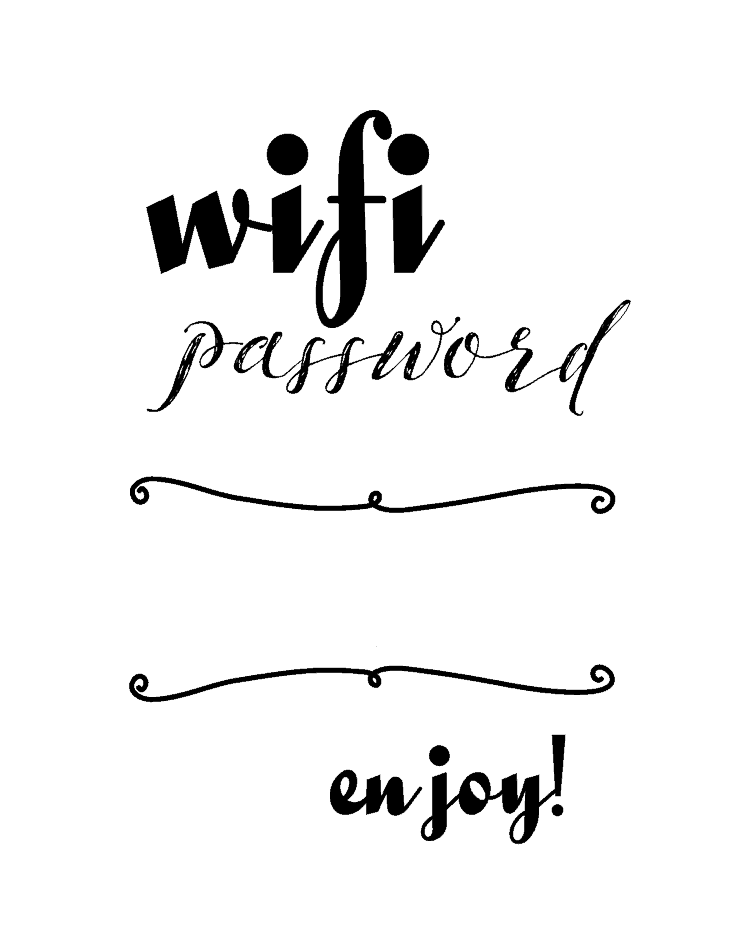 wifi password printable michelle james designs. Black Bedroom Furniture Sets. Home Design Ideas