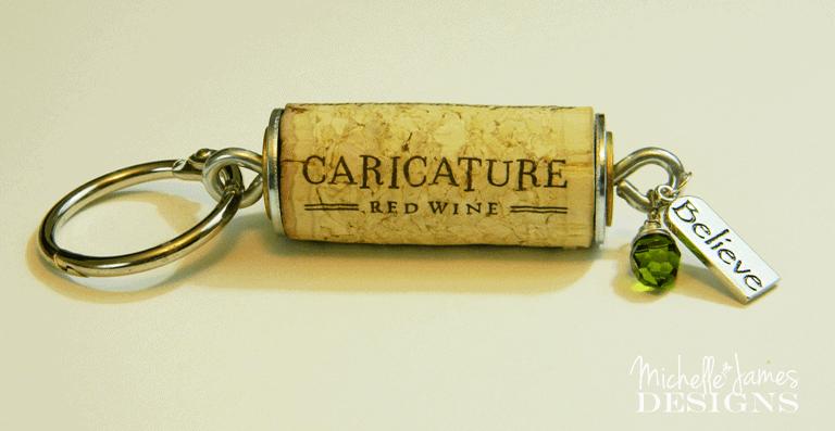 Wine Cork Keychain - www.michellejdesigns.com