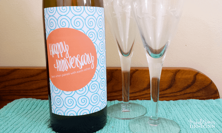 Wine Labels - www.michellejdesigns.com - Print your own wine labels for anniversary and birthday gifts