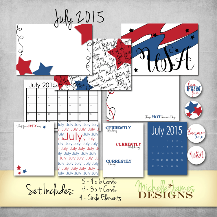 July 2015 Kit for Project Life Pocket Pages - www.michellejdesigns.com - Download this free July 2015 kit to use for scrapbooking and paper crafting!