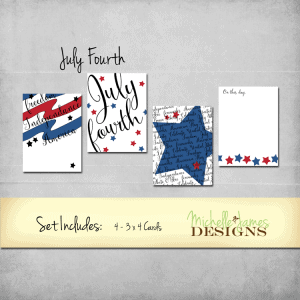 July-Fourth-Kit - www.michellejdesigns.com This fun freebie is available to download now. The patriotic colors are perfect for cards, scrapbooks and Project Life/Pocket pages