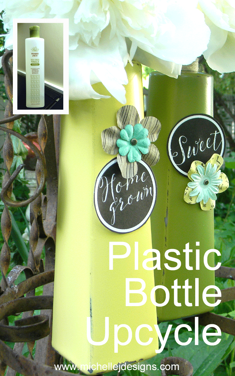 These shampoo bottles from Trader Joes are the perfect plastic bottle upcycle. I painted them and created some awesome vases with a farmhouse style. - www.michellejdesigns.com