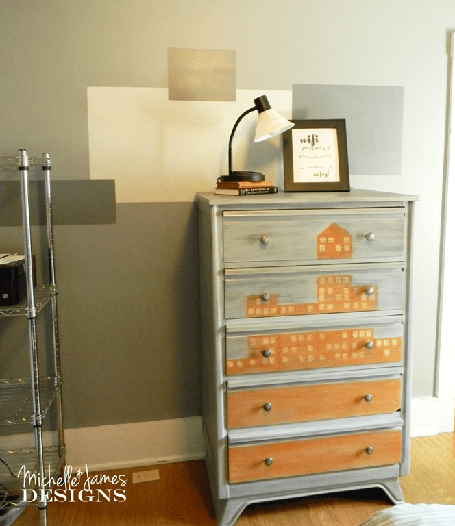 Cityscape Dresser Flip - www.michellejdesigns.com -  A dresser for storage in the guest bedroom and created for the Fab Furniture Flippin Contest