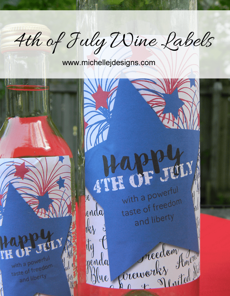 4th of July Wine Bottle Labels