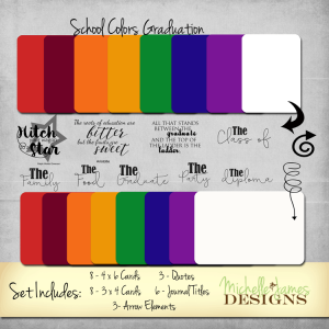 School Colors Graduation Kit - www.michellejdesigns.com - A graduation kit for Project Life Pocket type scrapbooking that includes all of the school colors, quotes and journal titles. Perfect for your graduation pages!