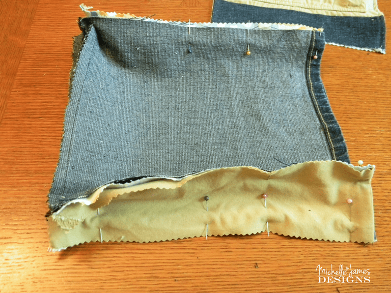 Messenger Bag - www.michellejdesigns.com - Recycled fabric, denim and cargo shorts all to make this fantastic messenger bag!