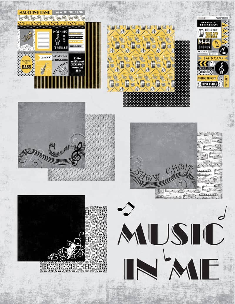 Band Memories with Moxxie - www.michellejdesigns.com - I created a scrapbook page using Moxxie's Music In Me Collection