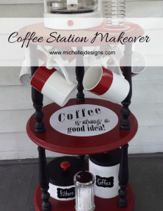 Coffee Station Makeover - www.michellejdesigns.com - Thrift store pieces and some awesome hardware were the makings for this creative coffee station.