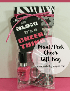 Mani-Pedi Cheer Gift Bag - www.michellejdesigns.com - This cheerleading collection is perfect for fun, fancy gift bags!
