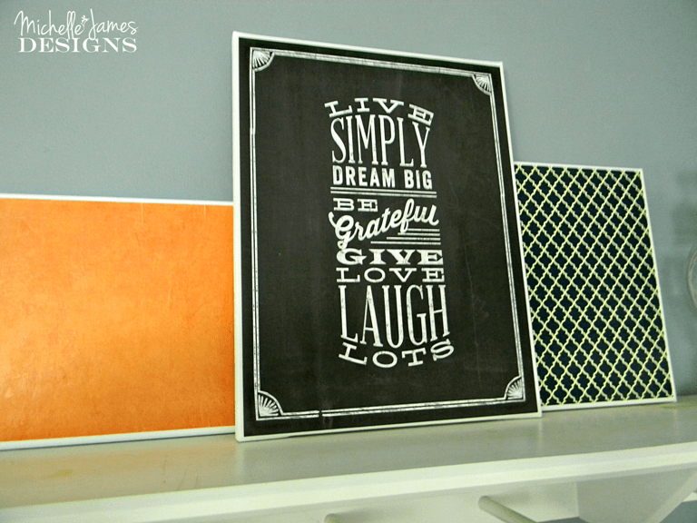 Guest Room Canvas Art - www.michellejdesigns.com - with some canvas and scrapbook paper you can create some fun art for your home