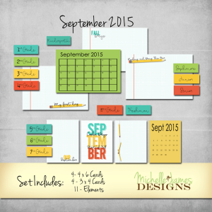 September 2015 Kit - www.michellejdesigns.com - Create digital and traditional Project Life/Pocket pages with this fun kit featuring back to school and fall!