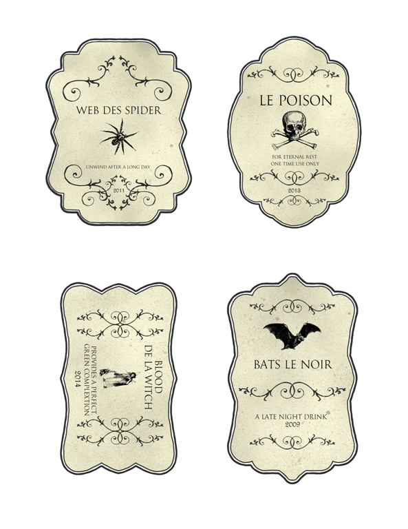Fabulous Halloween Bottle Labels | Michelle James Designs QW05