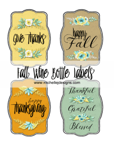 Fall Wine Bottle Labels - www.michellejdesigns.com - Dress up your wine bottles this fall with these handmade labels. Perfect for personalizing that gift of wine.