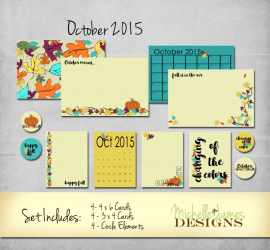October 2015 Kit - www.michellejdesigns.com - Perfect for fall pages, cards and mini-albums this kit is full of leaves and a great fall color scheme!