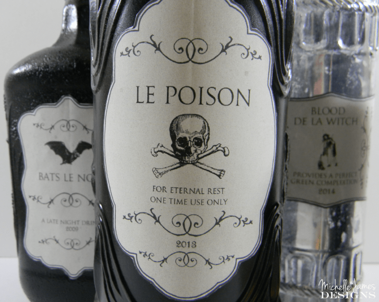 Create your own potion bottles with these Halloween Bottle Labels. Paint your bottles and add the Halloween Labels for some spooky Hallwoeen decor! - www.michellejdesigns.com