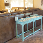 Beach Inspired Sofa Table - www.michellejdesigns.com - I was happy to help create this beachy sofa table for a friend. Look how we transformed it from dullsville to beachy keen!