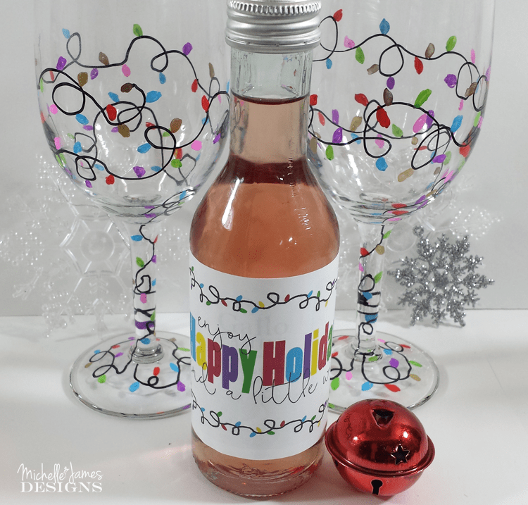 Holiday wine glasses michelle james designs for How to decorate wine glasses with sharpies