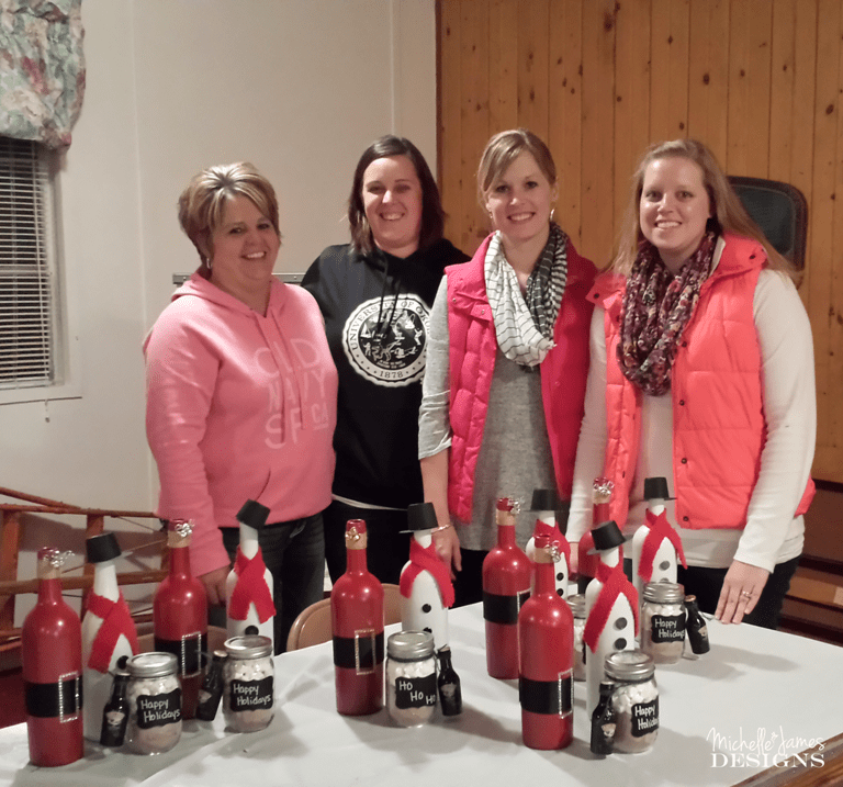 Class Time - www.michellejdesigns.com - the class had fun decorating their wine bottles for the holidays