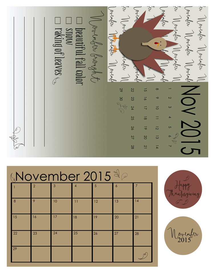 November 2015 Kit - www.michellejdesigns.com - The November kit for Project Life Pocket Pages includes nice fall colors and a turkey...of course!