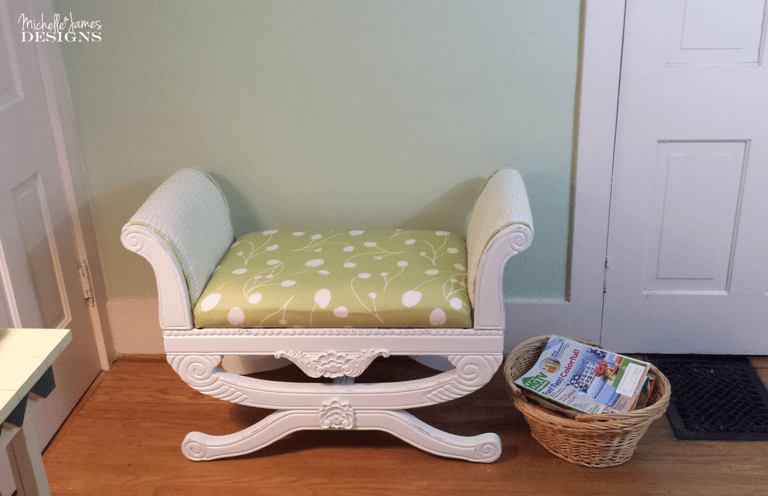 How to Tackle Your First Upholstery Project - www.michellejdesigns.com - I was scared to death to cut this beautiful fabric but I did it and so can you.
