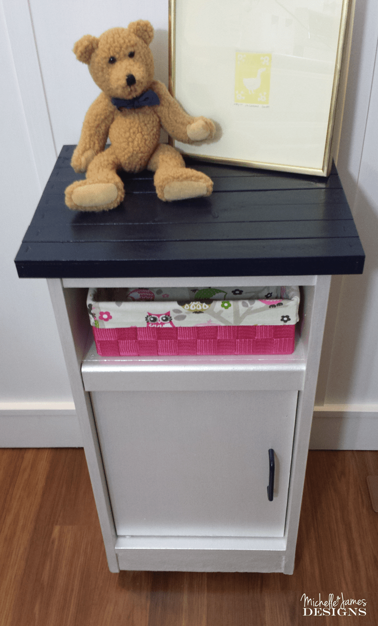 Cabinet Makeover for Baby's Room - www.michellejdesigns.com - See how I transformed this veneer cabinet into a baby's room treasure!