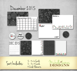 December 2015 Kit - www.michellejdesigns.com - Project Life Inspired December 2015 kit for scrabooking. Chalkboard, snowflakes and lights with a touch of green and red will perfectly match your December photos.