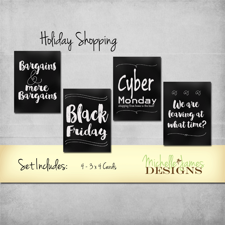 Holiday Shopping Kit - www.michellejdesigns.com - Recreate the fun you had., or didn't have, in the crowds of Black Friday holiday shopping and the relaxation of Cyber Monday with this fun Project Life inspired kit.