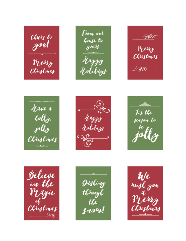Holiday Tags - www.michellejdesigns.com - Holiday tags for printing and using on gifts or cards this season!