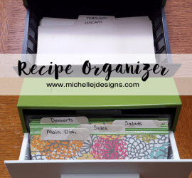 Pantry Recipe Organization - www.michellejdesigns.com - I created this recipe holder and some great free printable recipe cards to house all of my loose recipes. I can't wait to fill it up!