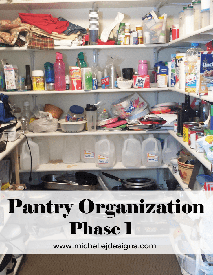 Pantry Organization Phase 1 - www.michellejdesigns.com - This is phase 1 of my attempt to re-vamp and re-organize my pantry.